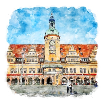 Altes rathaus germania illustrazione disegnata a mano di schizzo ad acquerello