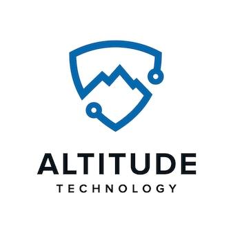 Altitudine elevare la montagna con scudo scurity per la tecnologia semplice design moderno del logo del contorno