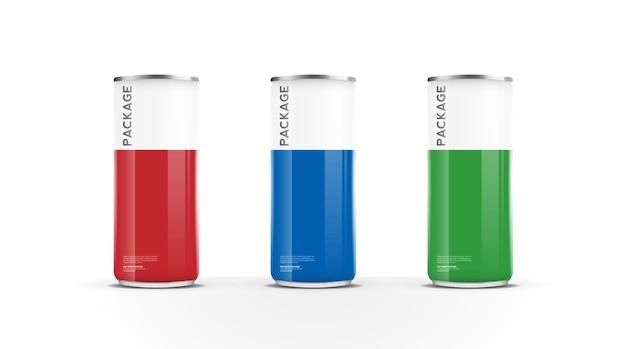Lattine di alluminio per bevanda energetica succo di birra acqua o confezione di soda mock up template design vector Vettore Premium
