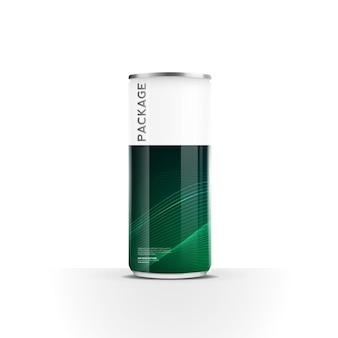 Lattine di alluminio per bevanda energetica succo di birra acqua o confezione di soda mock up template design vector