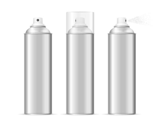 Insieme in bianco del modello della bomboletta spray di alluminio. tipi diversi