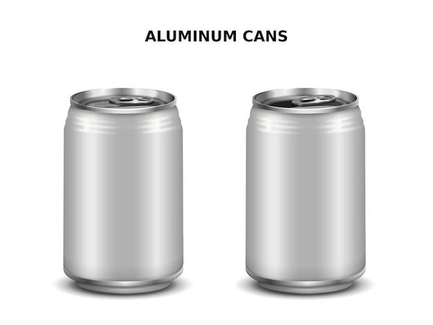 Lattine di alluminio, due lattine d'argento per il design isolato su bianco nell'illustrazione 3d