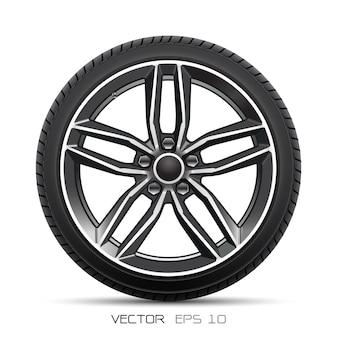 Sport di stile della gomma di automobile della ruota di alluminio su fondo bianco.