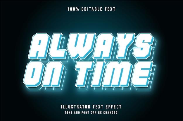 Sempre in tempo, stile di strati blu effetto testo al neon modificabile 3d