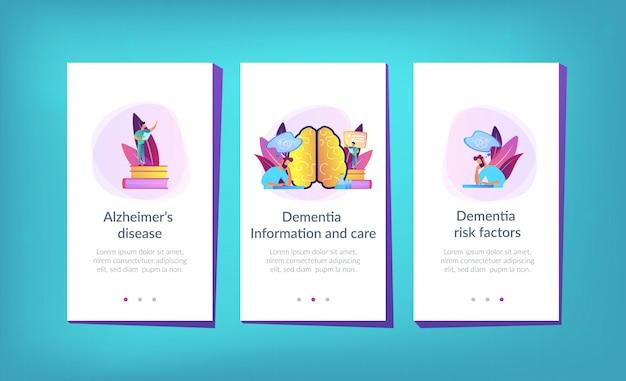 Modello di interfaccia app malattia di alzheimer.