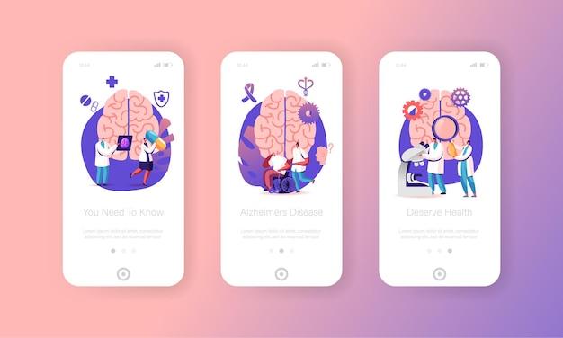 Modelli di schermo a bordo della pagina dell'app mobile per la malattia di alzheimer