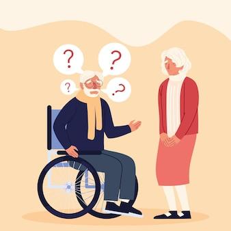 Caratteri di persone anziane di malattia di alzheimer