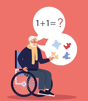 L'uomo di alzheimer ha problemi con i compiti
