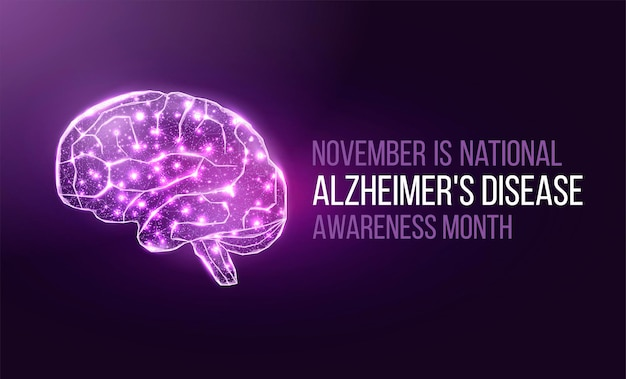 Concetto di mese di consapevolezza della malattia di alzheimer. modello di banner con nastro viola e testo. illustrazione vettoriale.