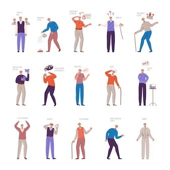 Morbo di alzheimer o parkinson, anziani con segni e sintomi di demenza, uomini anziani di età avanzata con problemi mentali,