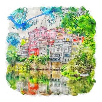 Illustrazione disegnata a mano di schizzo dell'acquerello di amarante portogallo