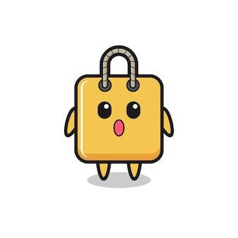 L'espressione stupita del cartone animato della borsa della spesa, il design in stile carino per maglietta, adesivo, elemento logo