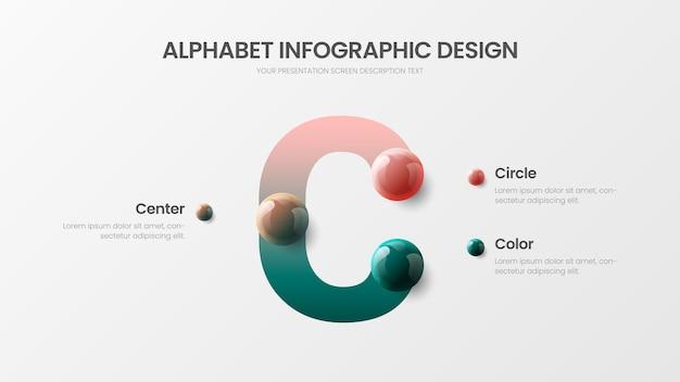 Incredibile alfabeto infografica c simbolo palline colorate presentazione design illustrazione layout