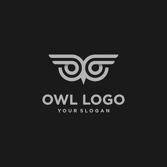 Fantastico e cool design del logo gufo premium
