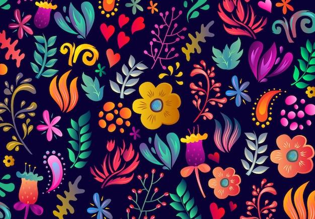Incredibile motivo floreale con foglie e fiori colorati luminosi