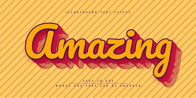 Incredibile design del modello di effetto di testo modificabile di illustrator
