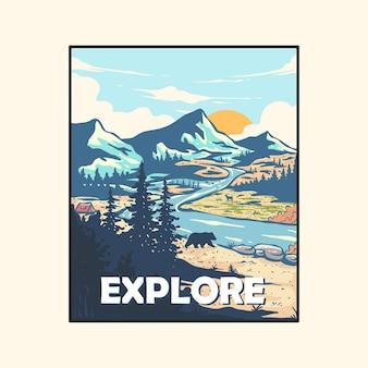 Incredibile paesaggio di montagna e poster di atmosfera di vita