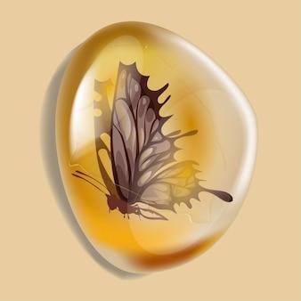 Pietra ambrata con insetto isolato su sfondo bianco. insetto moderno della farfalla congelato in ambra. resina petrosa per il design. gemma o bolla minerale. illustrazione vettoriale d'archivio.