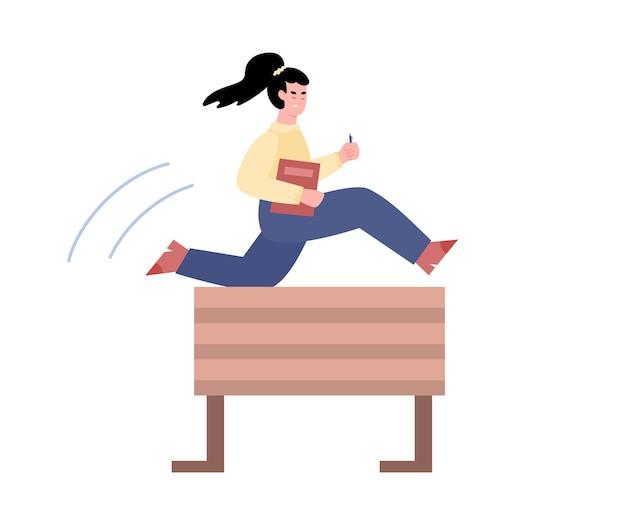 La donna ambiziosa di affari salta sopra l'illustrazione piana di vettore dell'ostacolo isolata