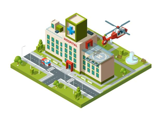 Costruzione di ambulanze. elicottero di trasporto di emergenza sul tetto dell'ospedale elisuperficie sanitaria isometrica.