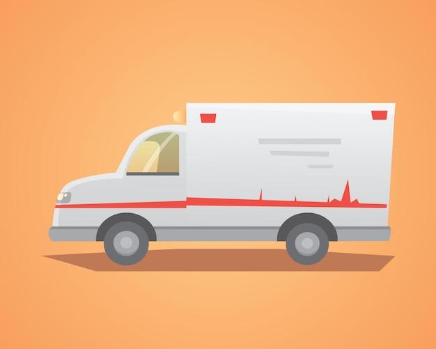 Illustrazione isolata design piatto auto ambulanza