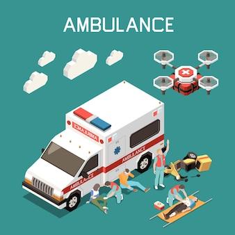 Drone medico auto ambulanza e medici che danno il primo soccorso all'illustrazione di persone ferite Vettore Premium