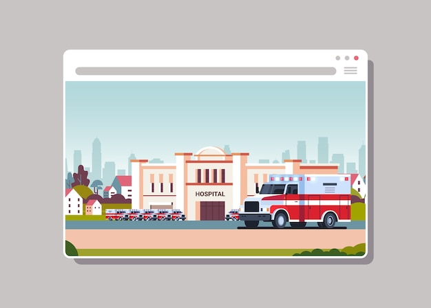 Ambulanza vicino al moderno ospedale edificio concetto di medicina digitale finestra del browser web orizzontale