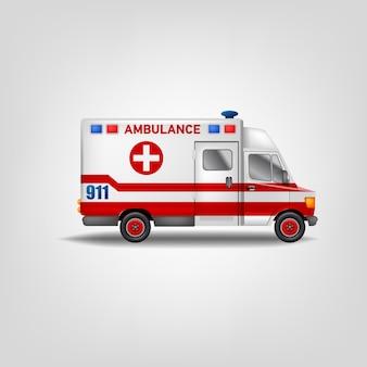 Automobile dell'ambulanza. illustrazione bianca del modello del camion di servizio