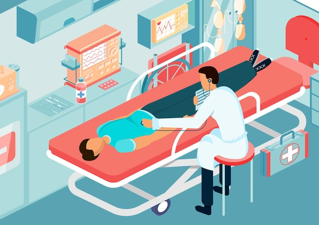Medico dell'ambulanza isometrico con attrezzature mediche per il trattamento