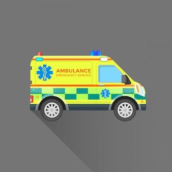 Illustrazione dell'automobile di servizio di emergenza dell'ambulanza