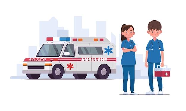 Personale dell'ambulanza. coppia di medici. illustrazione in uno stile piatto