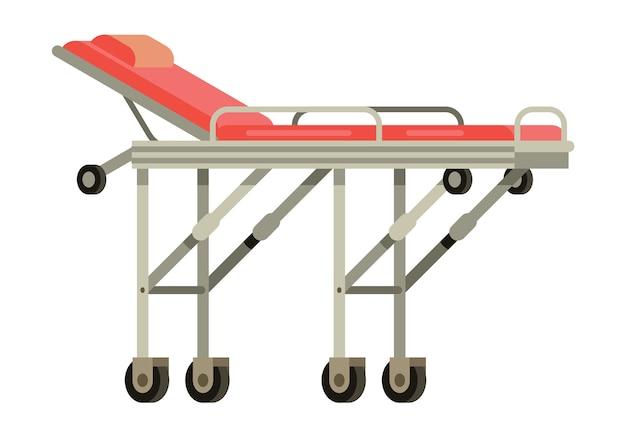 Illustrazione vettoriale bidimensionale della barella dell'ambulanza