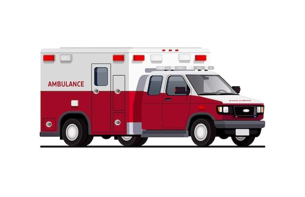 Furgone dell'ambulanza. equipaggiamento speciale. trasporti speciali. illustrazione di una macchina.
