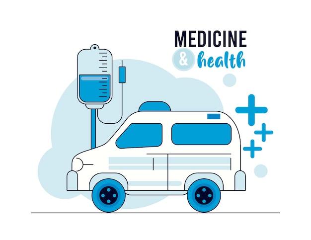 Ambulanza con icone di salute della sacca di sangue