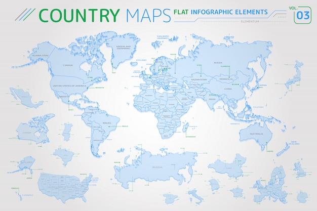 Mappe vettoriali di america, asia, africa, europa, australia, oceania, messico, giappone, canada, brasile, stati uniti, russia, cina