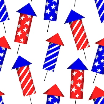 Seamless pattern di america independent day. illustrazioni festive di vettore. 4 luglio con fuochi d'artificio