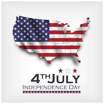 Mappa america e bandiera sventolante. giorno dell'indipendenza degli stati uniti, 4 luglio. vettore