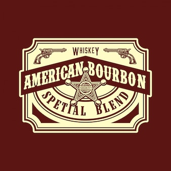 Etichetta in stile west bourbon americano