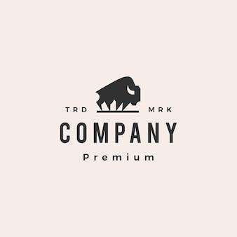 Modello di logo vintage hipster bisonte americano bufalo