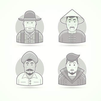 Cowboy americano, paesano asiatico, uomo indiano, ragazzo elegante. set di illustrazioni di personaggi, avatar e persone. stile delineato in bianco e nero.