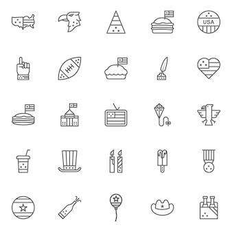 Icone della cultura americana, segni della cultura degli stati uniti, tradizioni dell'america, vita degli stati uniti, oggetti nazionali degli stati uniti, linea icone