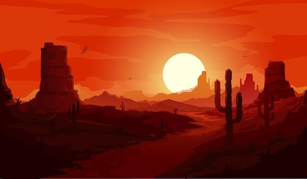 Paesaggio desertico americano. montagne e cactus occidentali del texas, aquile del condor e sfondo del tramonto. il paesaggio del deserto secco del selvaggio west di vettore con il percorso passa attraverso le rocce sotto il cielo rosso al crepuscolo