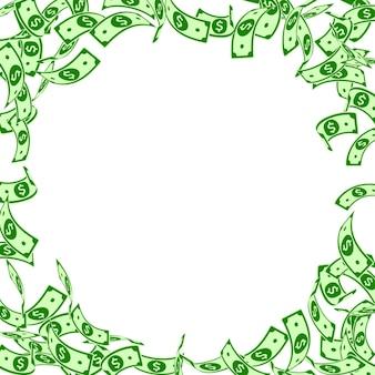 Caduta delle banconote del dollaro americano. banconote in usd fluttuanti