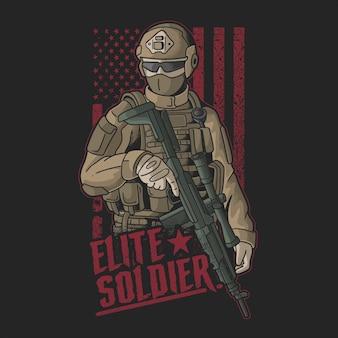 Illustrazione vettoriale di soldato d'elite americano grunge