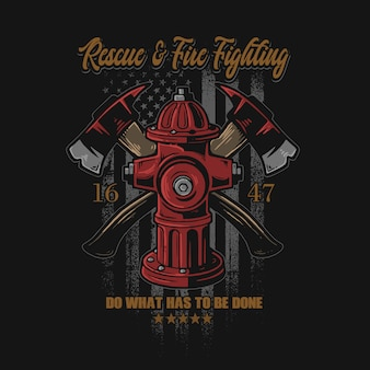 Grafico dell'illustrazione di simbolo di lotta antincendio americana
