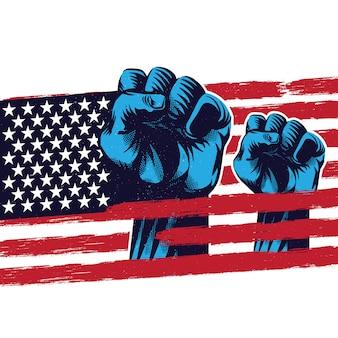 Propaganda di libertà della bandiera americana su fondo bianco