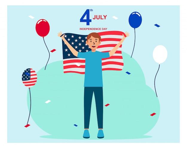 Illustrazione piana di festa dell'indipendenza felice della bandiera americana