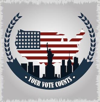 Bandiera americana nella mappa del paese e nella città di new york, il voto politico e le elezioni negli stati uniti, lo fanno contare illustrazione