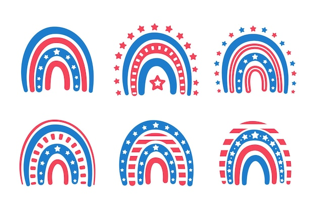 L'arcobaleno della bandiera americana decorato con molte stelle.