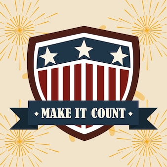 Bandiera americana in nastro scudo, voto politico ed elezioni usa, lo fanno contare illustrazione